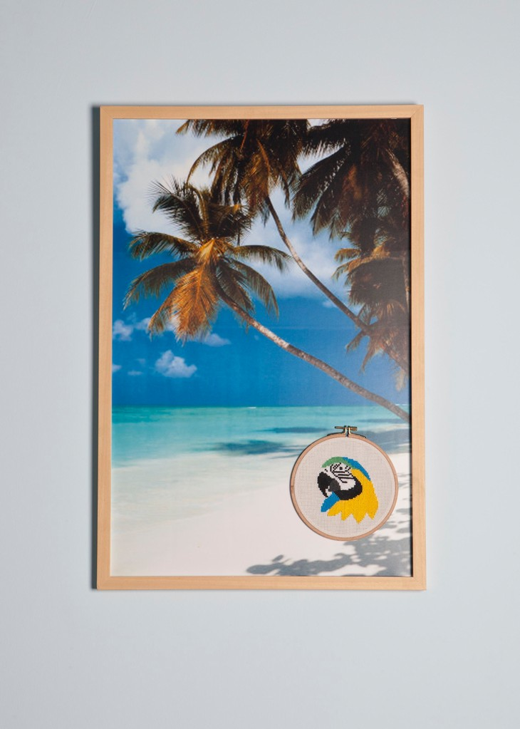 ''We've been having fun all summer long'' 2011-Cross stitch on photography/ 78x 52,5 cm