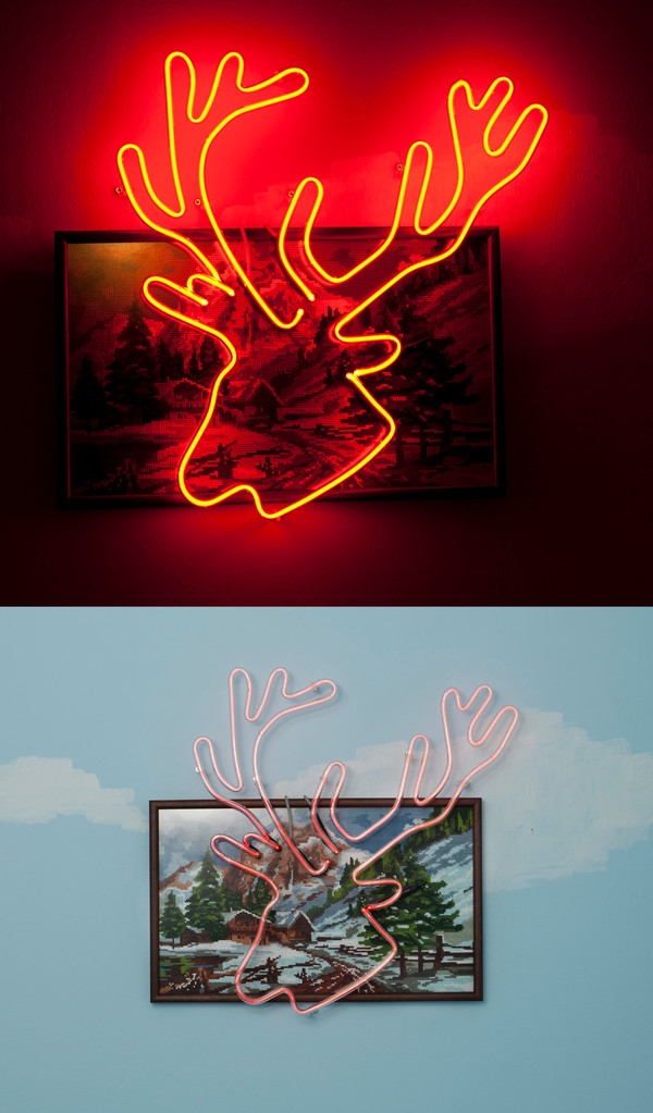 ''Winter wonderland'' 2011-Cross stitch and neon/55 x 60 cm