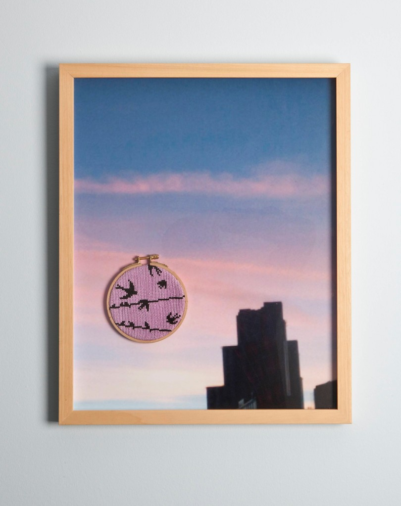 ''Pink skies'' 2011-Cross stitch on photography/52,5 x 42,5 cm