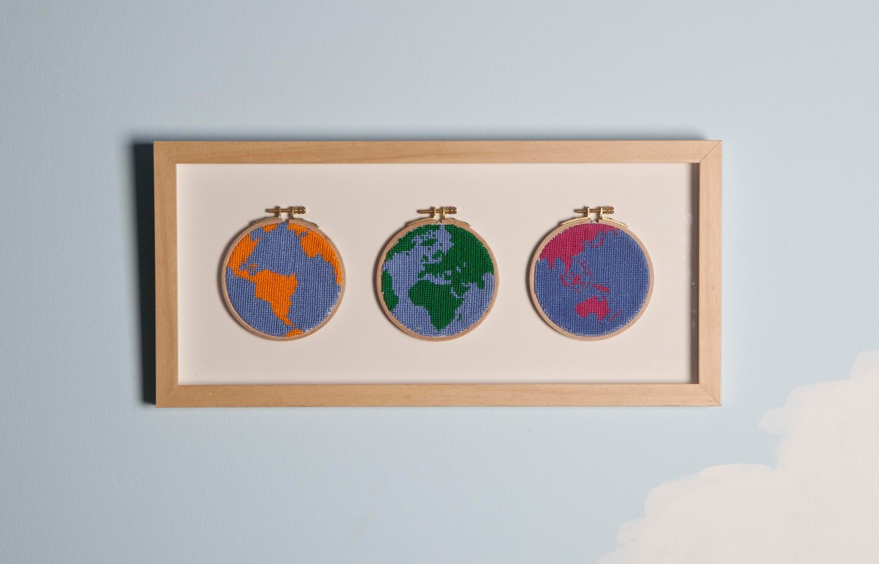 ''Around the world'' 2011- Cross stitch/25 x 53 cm