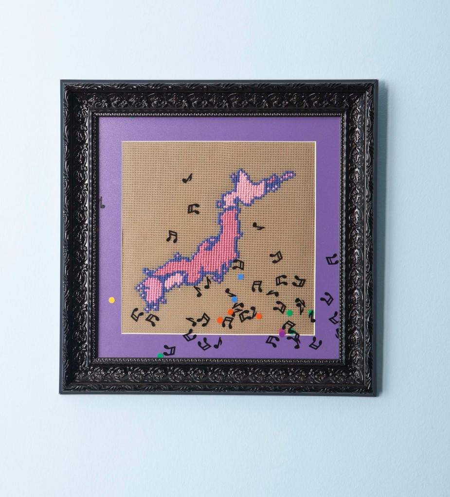 ''Japan'' 2011-cross stich and confetti/32 x32 cm