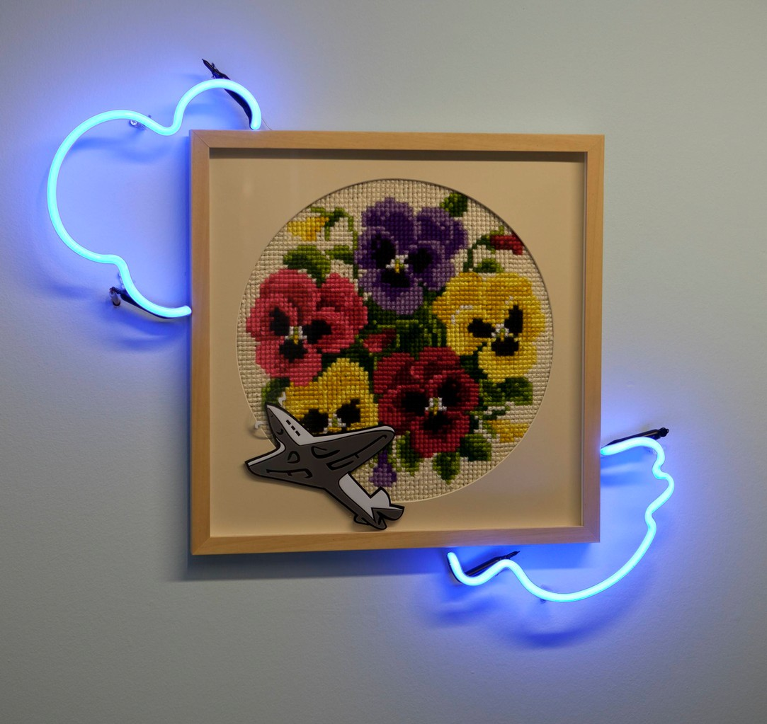 ''Fly me to the moon'' 2011-Cross stitch,Plexiglass and neon/70 x 65 cm