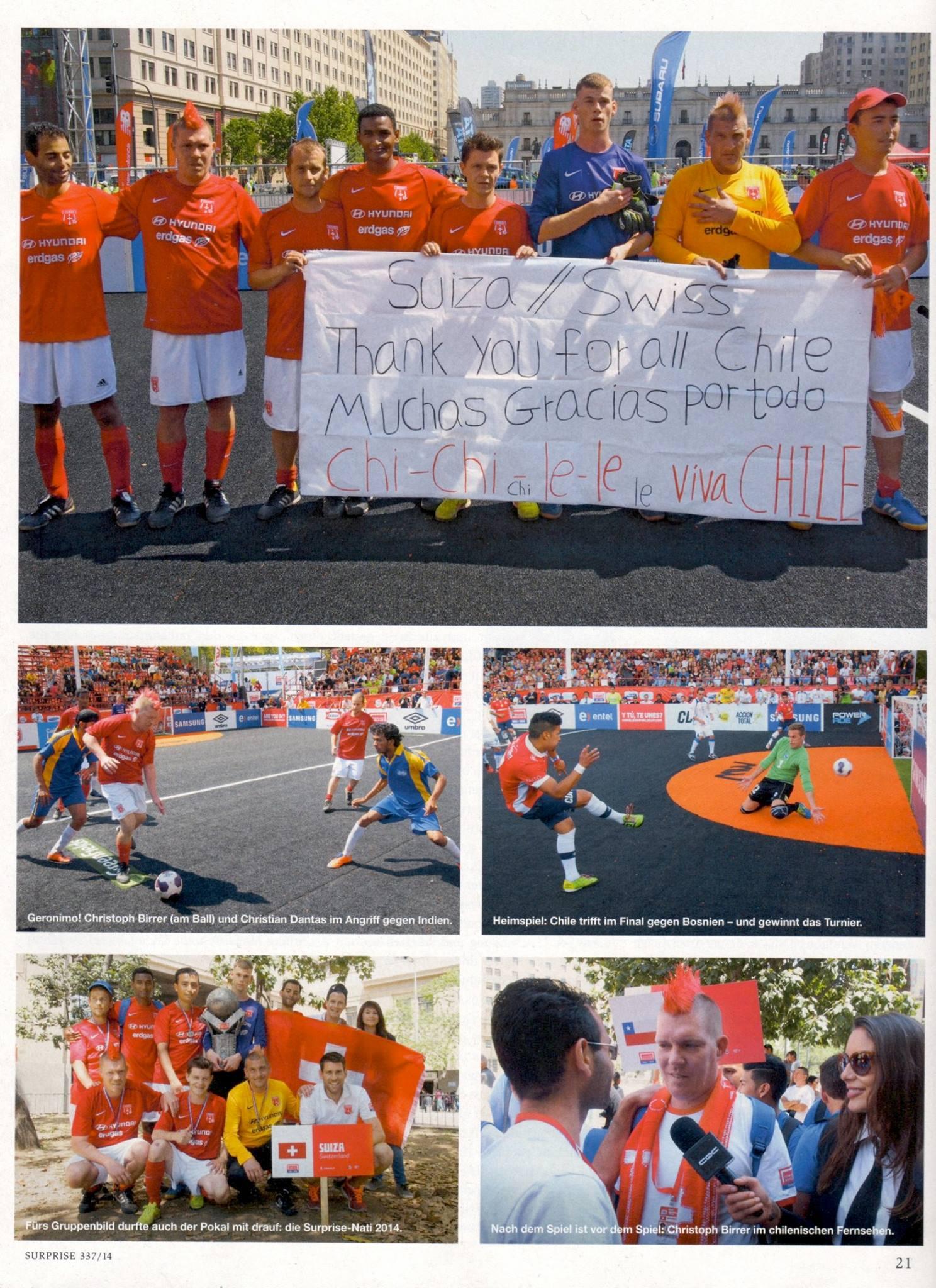 JUNI 2014  I  SURPRISE STRASSENMAGAZIN  I  NR. 337  I  HOMELESS WORLD CUP CHILE