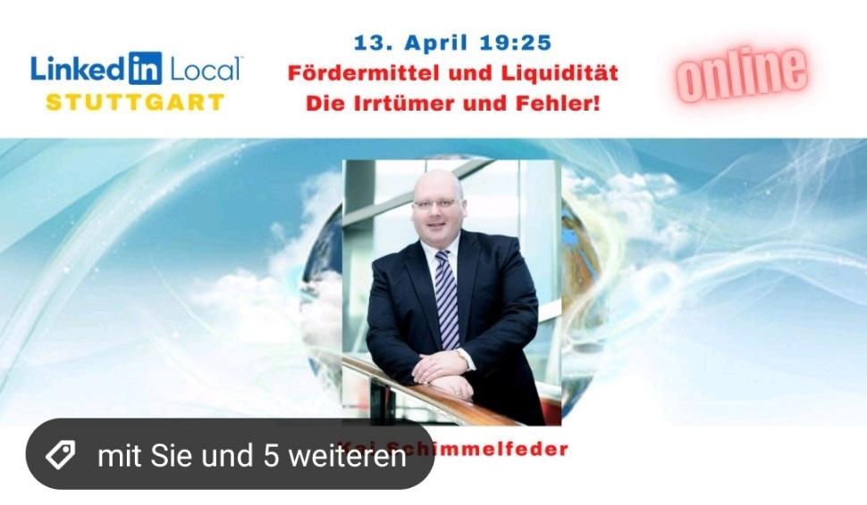 LIVESTREAM Fördermittelberatung bei LinkedIn live mit Kai Schimmelfeder