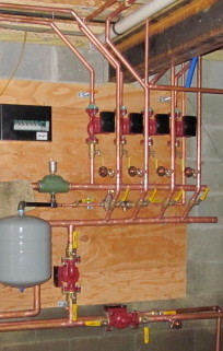 5- Zone heating system with copper piping