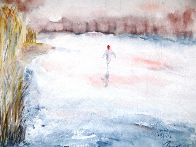 Eislaufen Schlachtensee, 30x40 (2009)