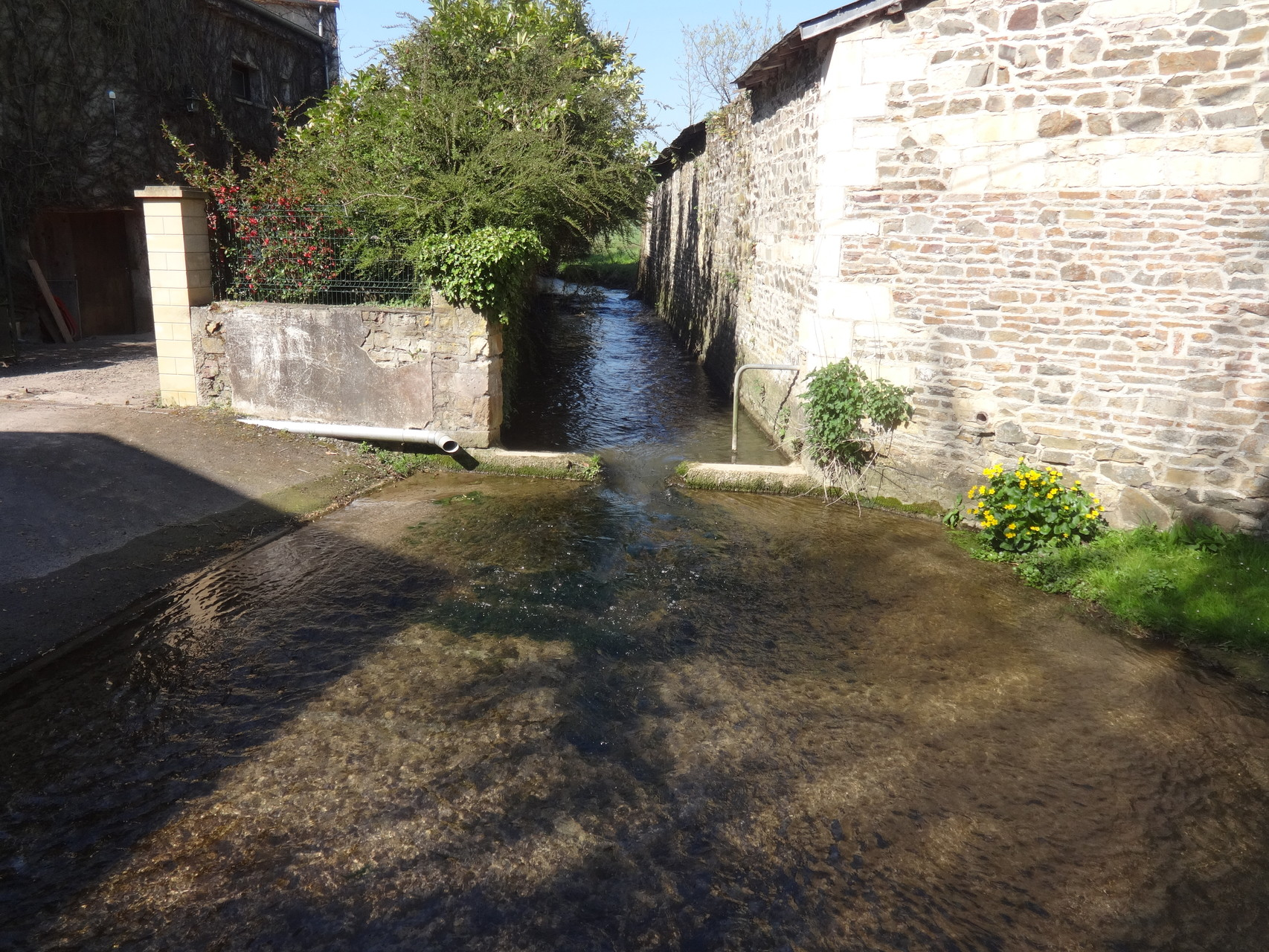 Entre le bas de Vieux et Amayé ... quand la rivière traverse la route !