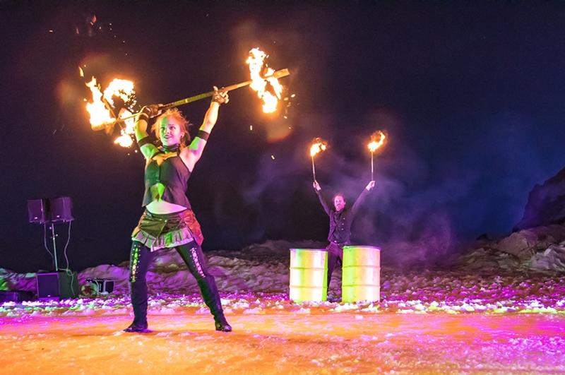 Feuershow auf der Zugspitze zum Mitarbeiterfest von Humbaur
