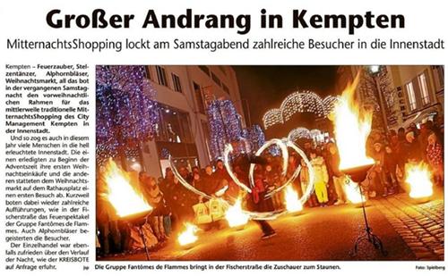 Feuershows beim Mitternachts-Shopping in Kempten