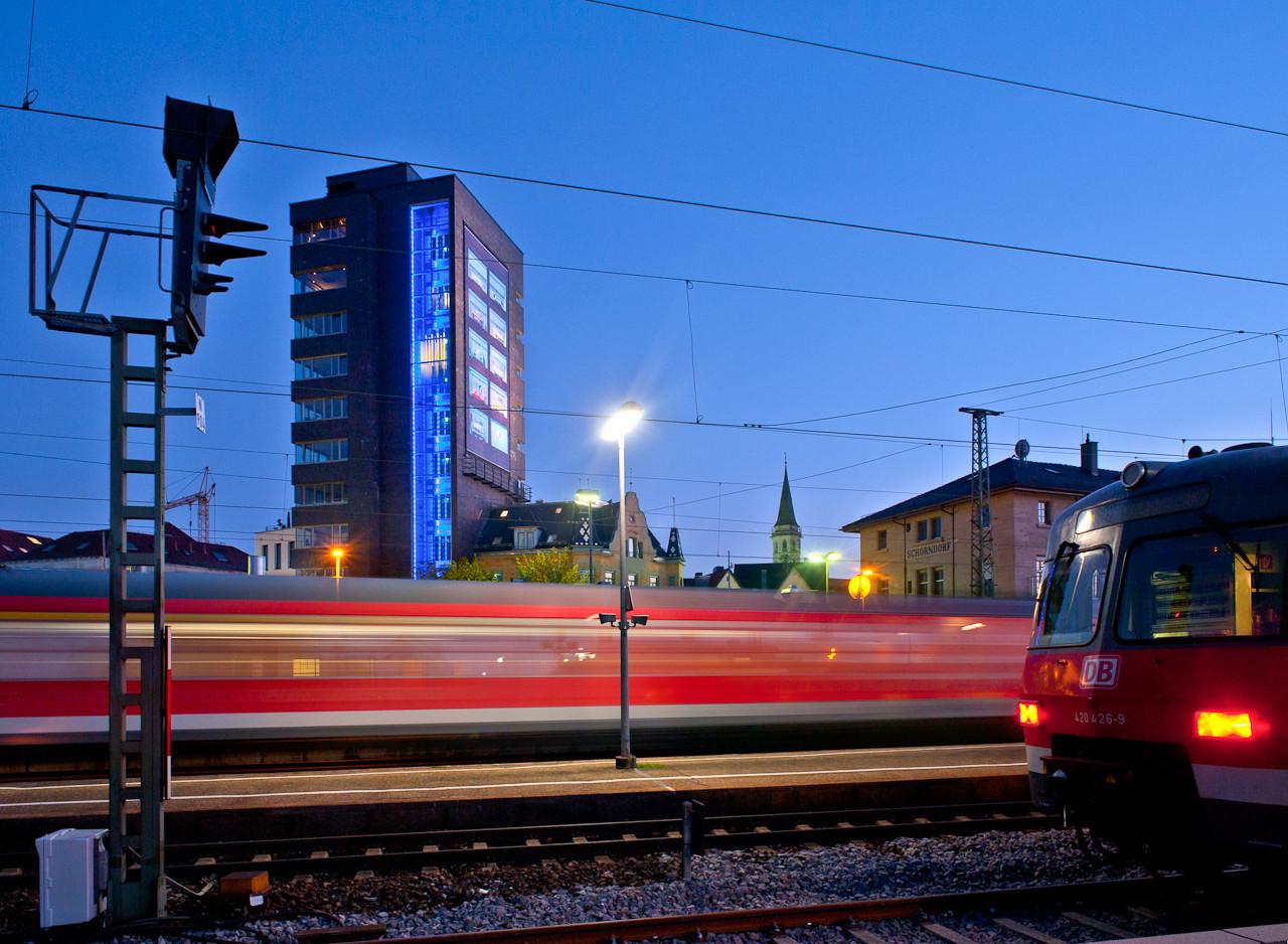Bahnhof Schorndorf mit Postturm