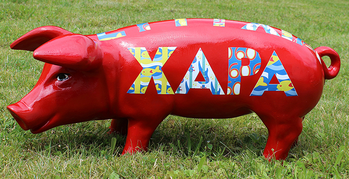 """XAPA: auf Griechisch """"Freude""""; individuell konzipiert und gestalteter Schriftzug auf Schwein von www.wunschnachkunst.de"""