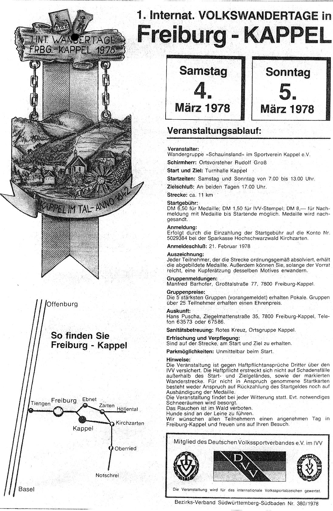 unser erster Wandertag 1978 in Freiburg-Kappel mit dem Sportverein Kappel zusammen