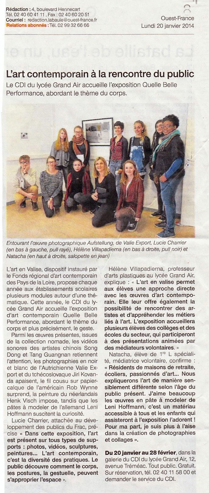 20 janvier 2014, Art en Valise, Ouest-France