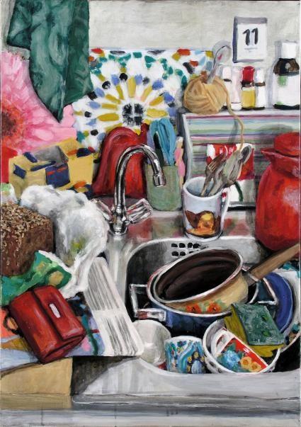 Schönfärberei 11.05., Format 65 x 85 cm , Eitempera/Öl-Lasur auf Canvas, 2006