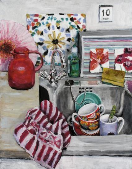 Schönfärberei 10.05., Format 65 x 85 cm, Eitempera/Öl-Lasur auf Canvas, 2006