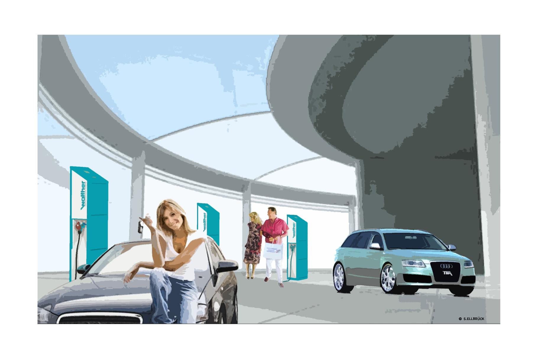 Illustration mit Frau und Fahrzeug  «Strom tanken während des Einkaufs»