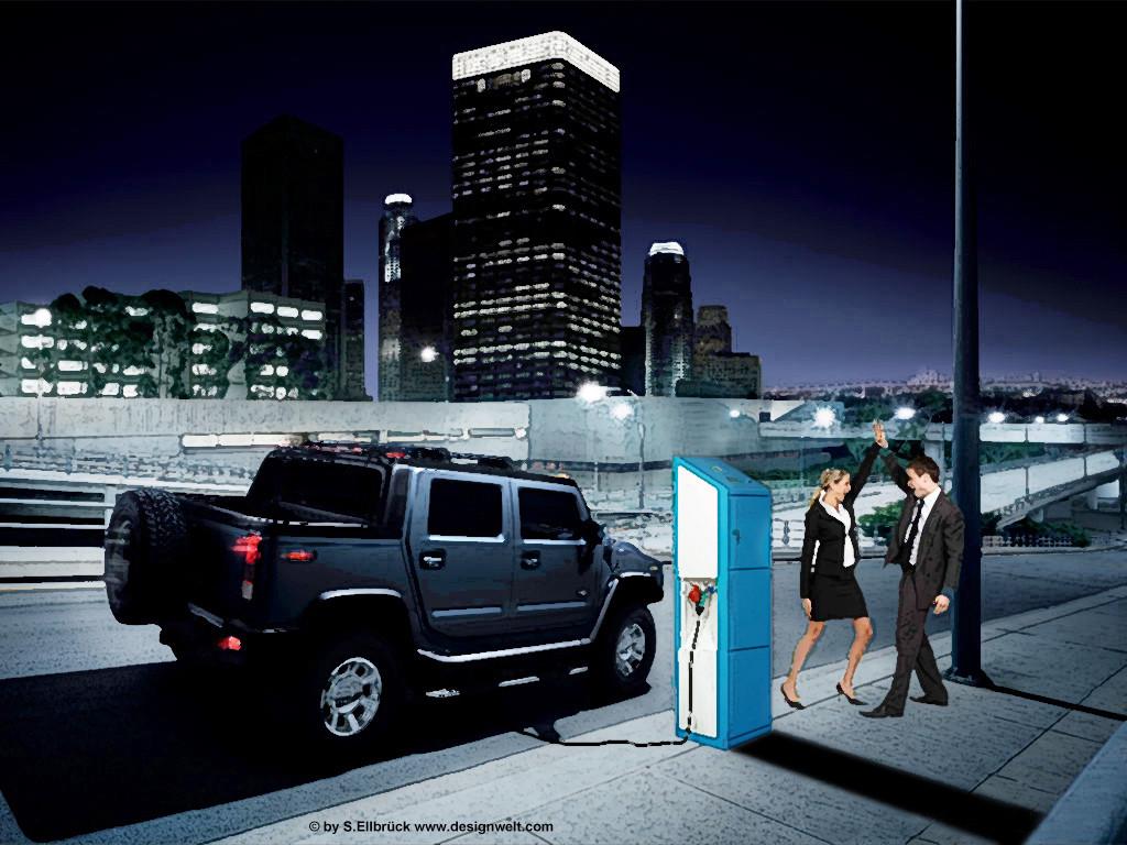 Illustration mit Paar «Fahrzeug und Stromtankstelle in der City»