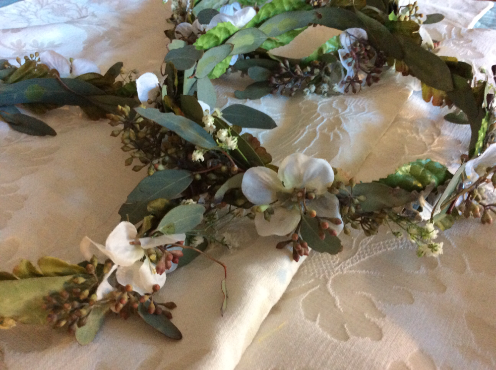 Seeded Eucalyptus,Gypsophilia, Lisianthus,Dustymiller, Silk Flowers. $68.00 each