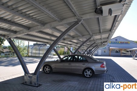 alkaSOL / EST project:c arport row with installed Inverter Power One PVI series