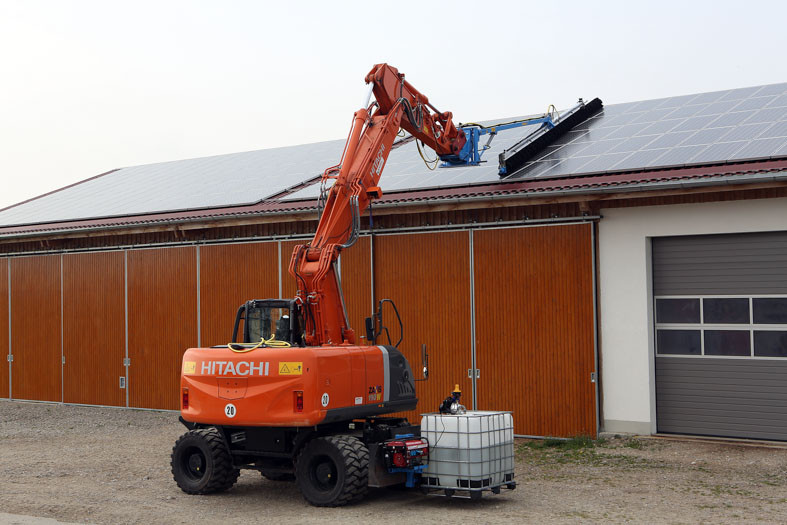 SunBrush mobile - panel cleaning with excavator