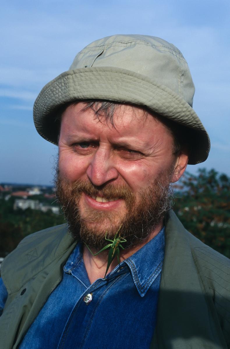 Exkursion im Jahr 2003: Jürgen mit Heupferd in Bart!