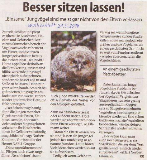 Artikel Aus dem Herner Wochenblatt vom 21.05.14