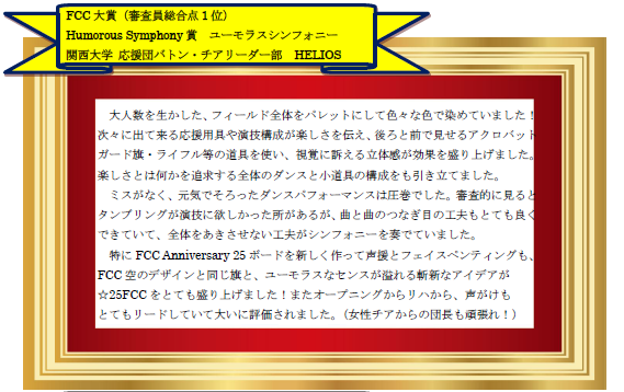 FCC大賞 関西大学