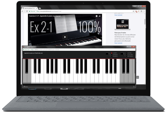 laptop application piano ordinateur