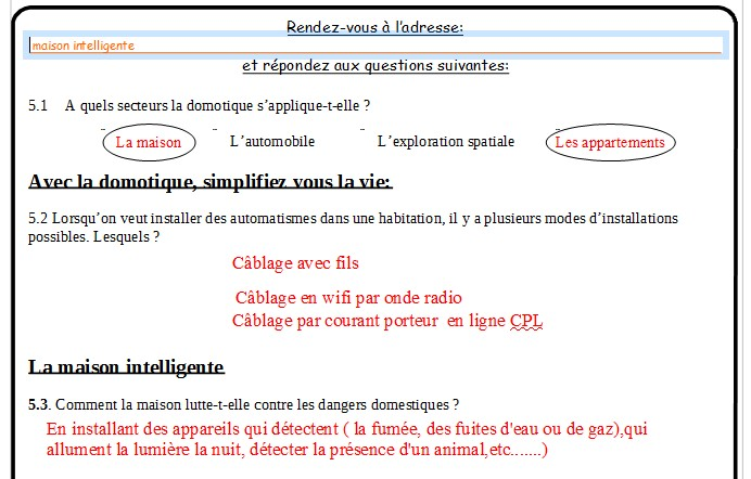 correction fiche eleve domotique