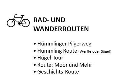 Rad- und Wanderrouten: Hümmlinger Pilgerweg, Hümmling Route (Werlte oder Sögel), Hügel-Tour, Route: Moor und Mehr, Geschichts-Route