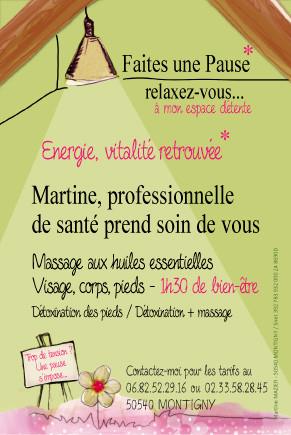 Flyer pour Martine, La Pause : massage à Montgothier