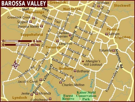 Map credit: Lonely Planet Barossa Valley