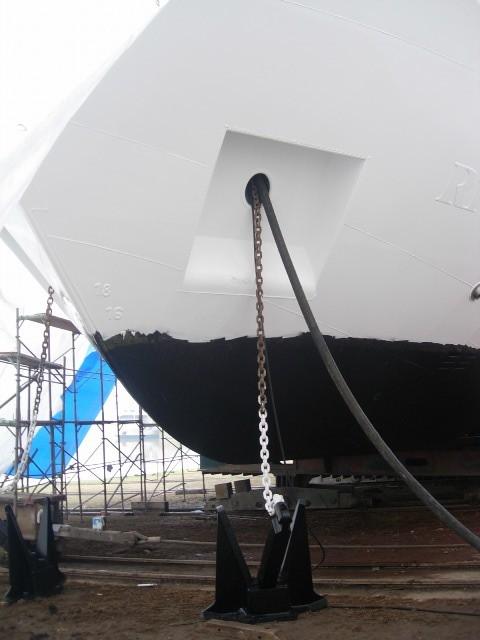 Ein Passagierschiff wird generalüberholt