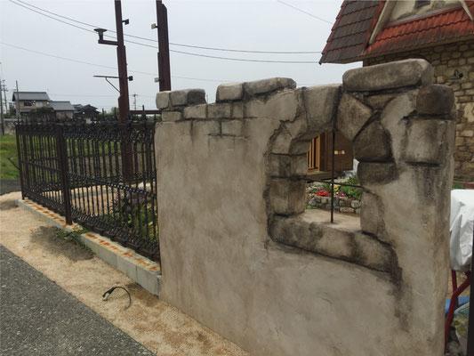 モルタル造形外構施工事例 モルタル造形の塀