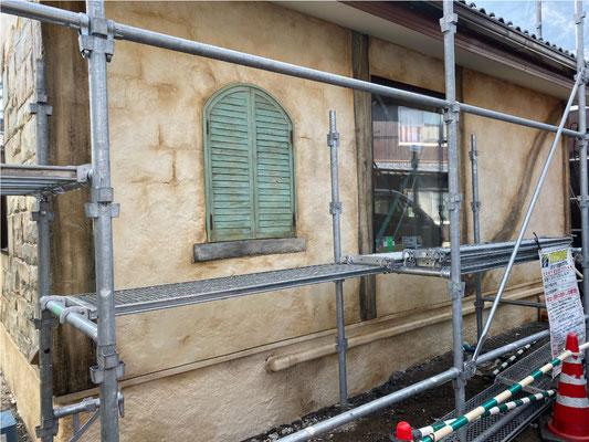 モルタル造形施工事例 工事中の様子