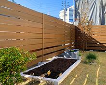 天然芝と家庭菜園のスペースがある庭  名古屋市 M様邸 外構工事