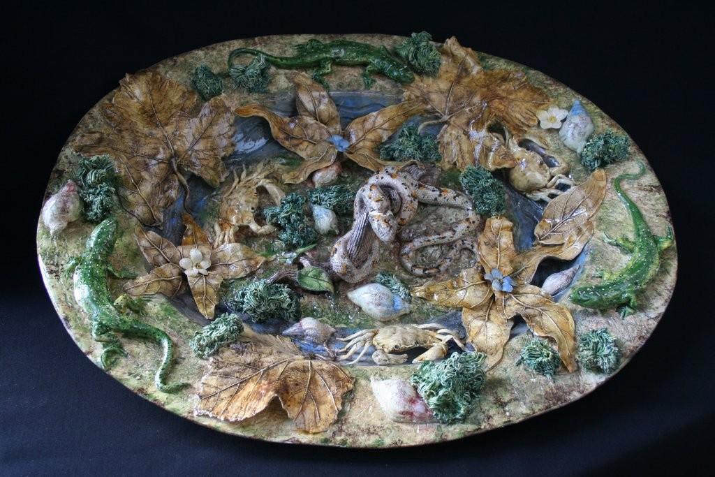 Keramikplatte im Stil von Bernard Palissy