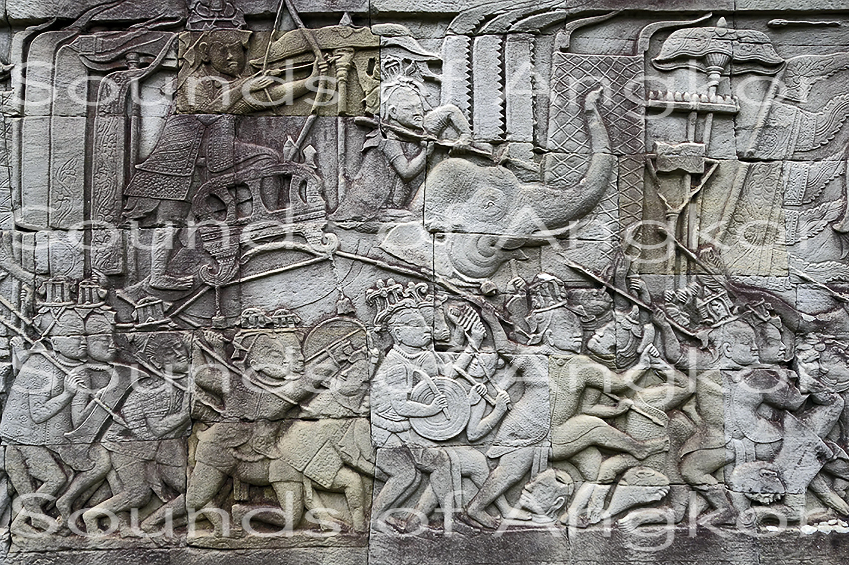 Chinese soldiers and musicians. Bayon, east outer gallery, north wing. July 2021.