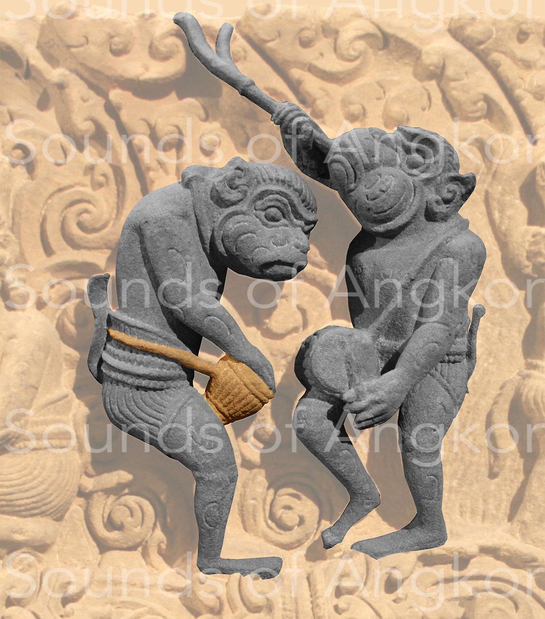 Singe jouant du tambour en gobelet. Vat Baset, fin XIe - début XIIe s. Musée Guimet.