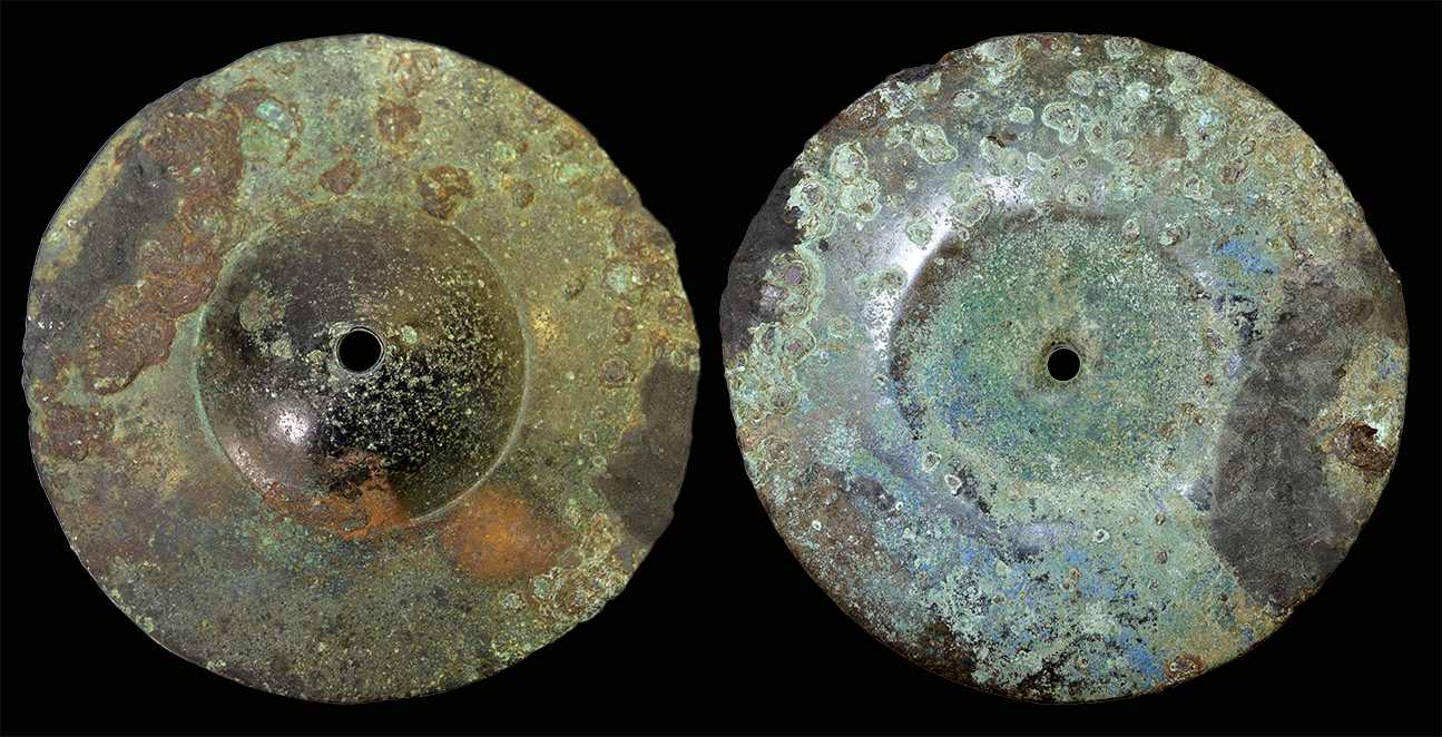 Forged (?) cymbal with conical cap. Outer & inner sides. Private collection.