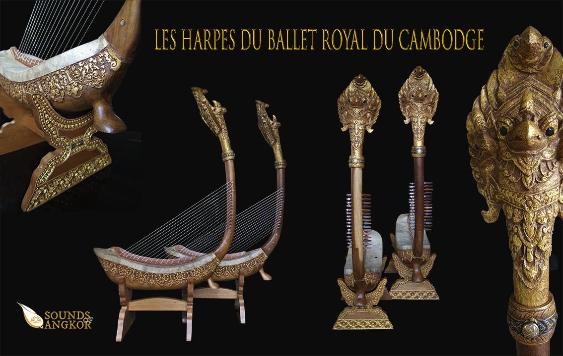 """Paire de harpes dites """"Harpes du Ballet Royal du Cambodge"""". Maître d'ouvrage/œuvre : P. Kersalé. Facteurs : Leng Pohy, Thean Nga, Lim Theam. Laque acrylique : Philippe Brousseau. Cordage : P. Kersalé. Siem Reap 2019."""
