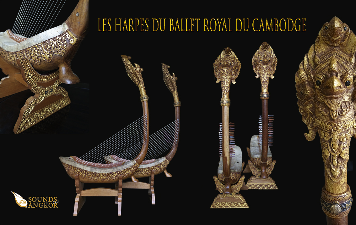 """Pair of Garuda harps with a single foot called """"Harps of the Royal Ballet of Cambodia"""". Project manager: P. Kersalé. Makers: Leng Pohy, Thean Nga, Lim Theam. Acrylic lacquer: Philippe Brousseau. Stringing: P. Kersalé.  Siem Reap 2019."""