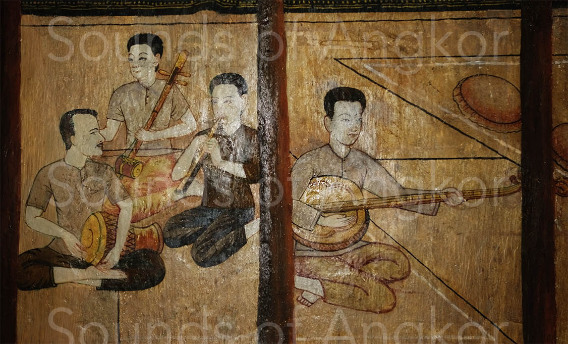 Wat Bakong. The soundbox is that of a tro but the intention was to draw a tro Khmer because it is a phleng kar boran ensemble.