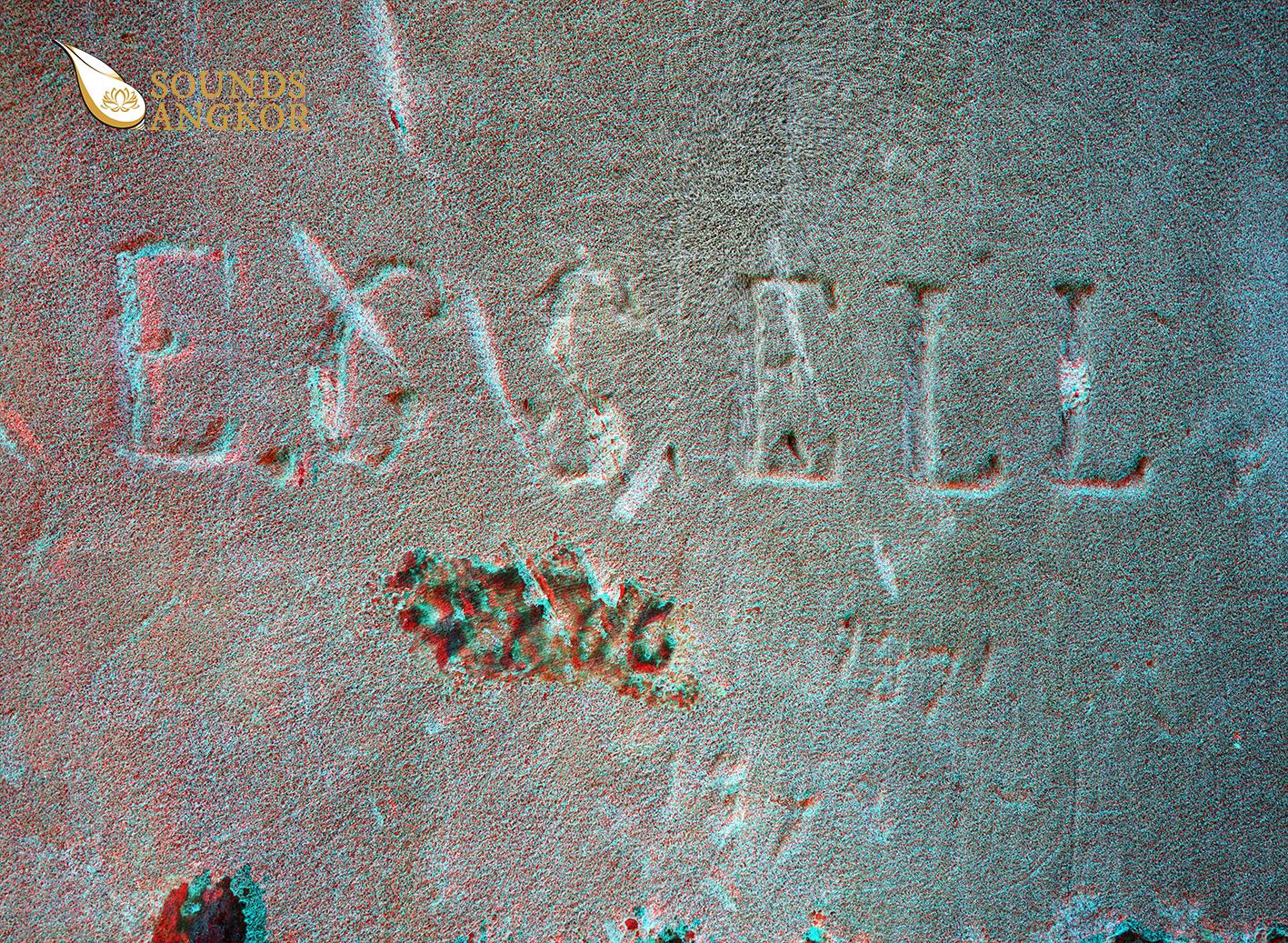 Autographe format anaglyphe nécessitant des lunettes rouge et bleu pour voir le relief.