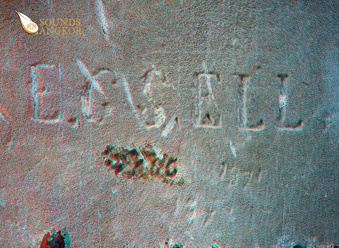 Autograph in anaglyph format requiring red and blue glasses to see the relief.