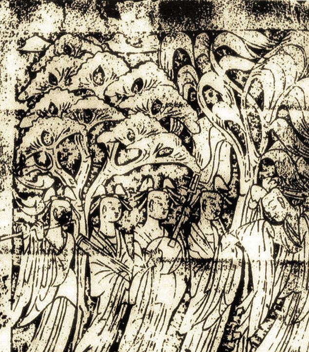 Gravure sur pierre, Luoyang, Henan, époque Tang (618-907). LIU Dongsheng, Yuan Quanyou, Zhongguo yinyue shi tujian (Guide illustré de l'histoire de la musique chinoise), Beijing, Renmin yinyue, 1988, II.98 p.64.