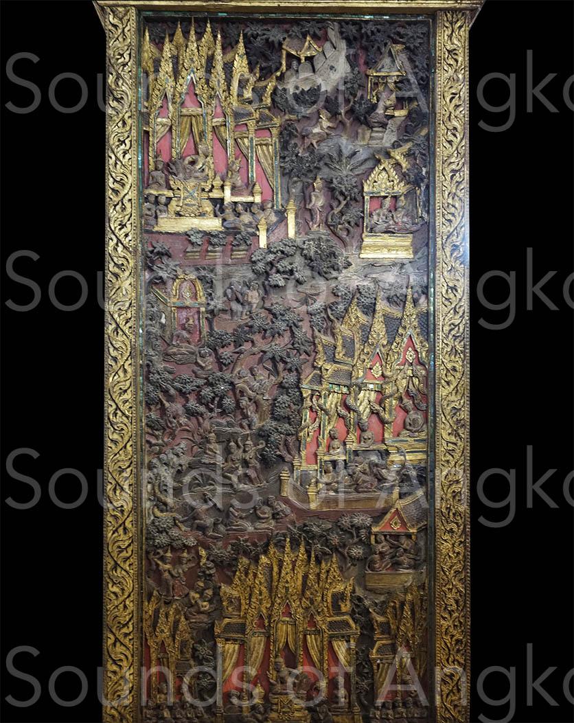 Cabinet en bois sculpté pour conserver les manuscrits bouddhistes. Représentation de la vie antérieure du Bouddha. Côté gauche. Période Ayutthaya, 18e s. Musée National de Bangkok.