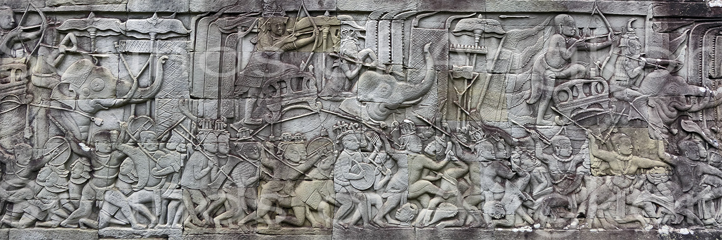 Khmer, Chinese and Cham warriors. Bayon, east outer gallery, north wing. July 2021.