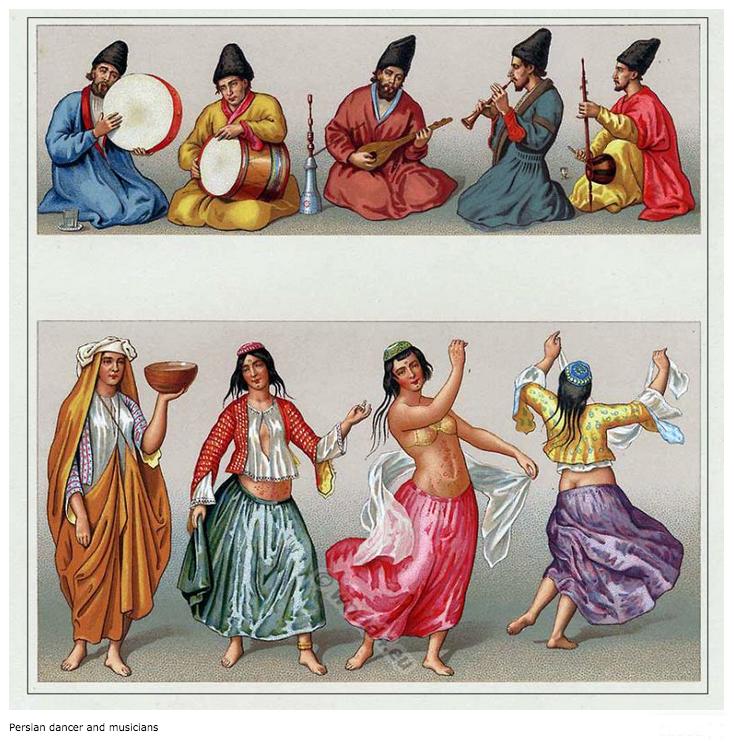 Danseuses et musiciens persans. XVIe s.