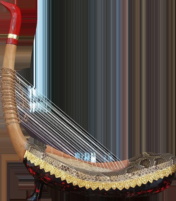 """Harpe angkorienne avec un pied dite """"harpe d'Angkor Vat"""". Maître d'ouvrage/œuvre : P. Kersalé. Facteurs : Leng Pohy, Thean Nga. Laque acrylique multicouche : Philippe Brousseau. Cordage : P. Kersalé. Siem Reap 2019."""